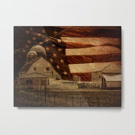 Rustic Barn Americana Heartland Farmhouse Country Flag Decor Art A463 Metal Print