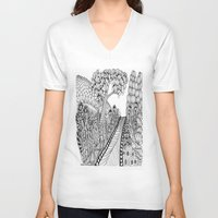 zentangle V-neck T-shirts featuring Zentangle Illustration - Road Trip by Vermont Greetings