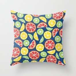 Vitamin C Super Boost - Citric Fruits on Blue Throw Pillow