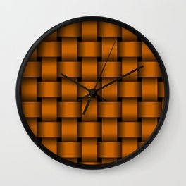 Large Dark Orange Weave Wall Clock