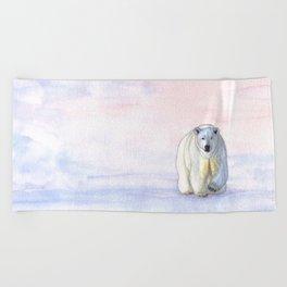 Polar bear in the icy dawn Beach Towel
