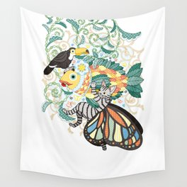 Plant fish and Butterfly cat and Toco toucan (remake) Wall Tapestry