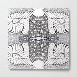 Black and White Zen Doodle 3 Metal Print