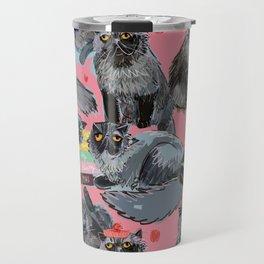 Freddy- Cat pattern in Pink Rose Travel Mug