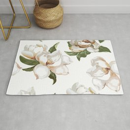 Love Of Nature... Gorgeous Creamy-white Magnolia Flowers Rug