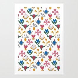 Fantasy Flowers – Blue Bell – Scandinavian Folk Art Art Print