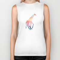 giraffe Biker Tanks featuring Watercolor Giraffe by Jacqueline Maldonado