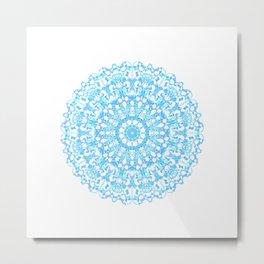 Mandala 12 / 3 eden spirit light blue turquoise white Metal Print