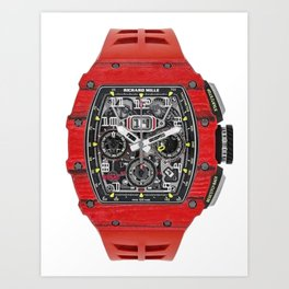 Richard Mille 11-03 Flyback Red Quartz TPT NTPT in Carbon on Red Rubber Strap with Transparent Dial Art Print