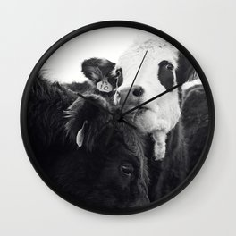 Kissing Cows Print Wall Clock
