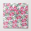 Elegant botanical pink green watercolor roses pattern by pink_water