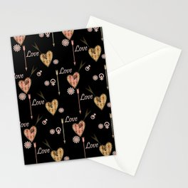 Love . Openwork heart pierced by an arrow . Stationery Cards