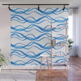 Wave ~ blue watercolor pattern Wall Mural