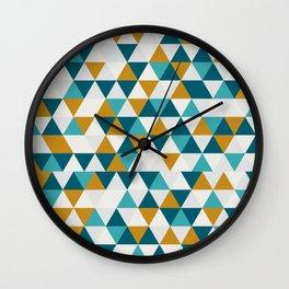 Cyan Orange Gray Triangles Wall Clock