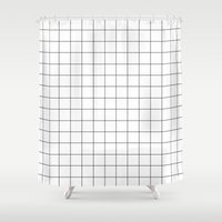 grid Shower Curtains featuring grid by 550am