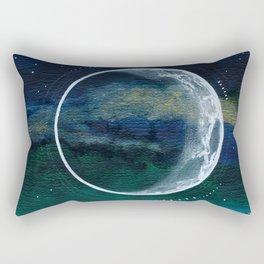 Crescent Moon Mixed Media Painting Rectangular Pillow