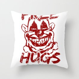 Creepy Mask Free Hugs Scary Clown  Throw Pillow
