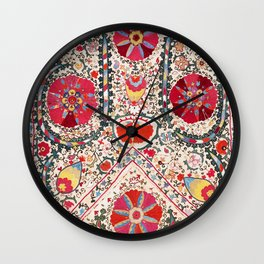 Lakai Suzani Uzbekistan Central Asian Embroidery Print Wall Clock