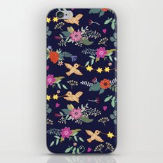 Cute vintage pattern with birds and flowers iPhone & iPod Skin