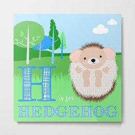 H is for Hedgehog Metal Print