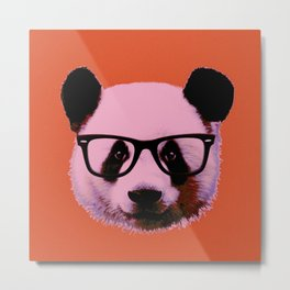 Panda with Nerd Glasses in Orange Metal Print