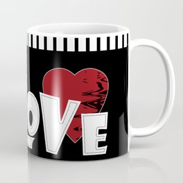 Valentine's day . Love. Black and white striped background . Coffee Mug