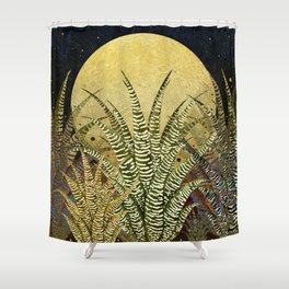 """Golden aloe Zebra midnight sun"" Shower Curtain"