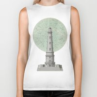 lighthouse Biker Tanks featuring lighthouse by notbook