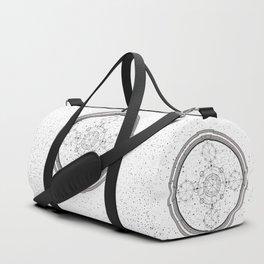 Black and white sacred geometry, Sci fi, Mechanical art Duffle Bag