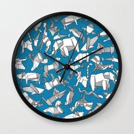 origami animal ditsy blue Wall Clock