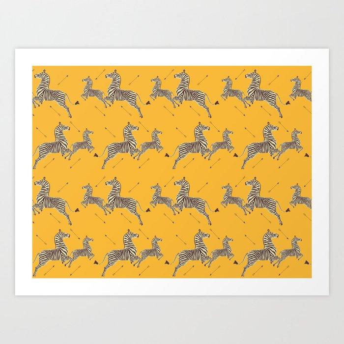 Royal Tenenbaums Zebra Wallpaper - Mustard Yellow Kunstdrucke
