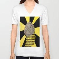 brain V-neck T-shirts featuring Brain by Art By Carob