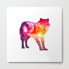 Wolf Pink Moon Metal Print