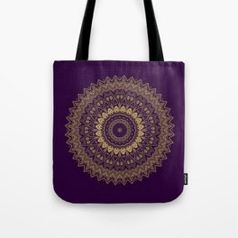 Harmony Circle of Gold on Purple Tote Bag