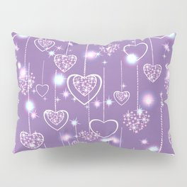 Bright openwork hearts on a lilac background. Pillow Sham