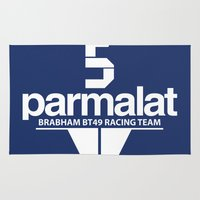 f1 Area & Throw Rugs featuring Brabham F1 Racing Team BT49 by Krakenspirit