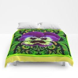 Yellow Color Purple PANSY Green Garden art Comforters