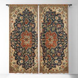 Central Persia 19th Century Authentic Colorful Dark Blue Red Tan Vintage Patterns Blackout Curtain