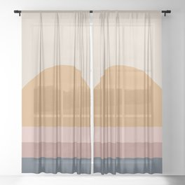 Minimal Retro Sunset - Neutral Sheer Curtain