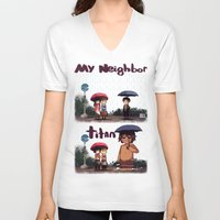 snk V-neck T-shirts featuring SNK-My neighbor titan by Mimiblargh