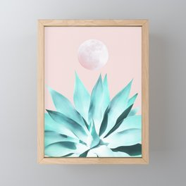 Stellar Agave and Full Moon - pastel aqua and pink Framed Mini Art Print