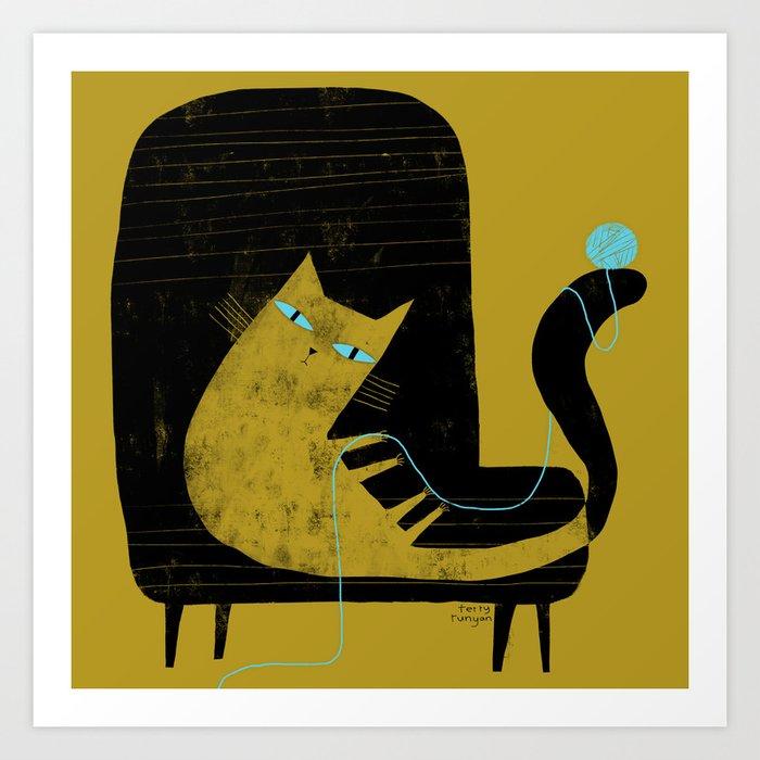 YELLOW CAT BLACK CHAIR Art Print