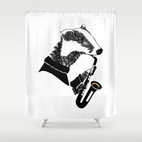 badger Shower Curtains featuring Badger Saxophone by mailboxdisco