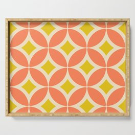 Retro Mid-century Flower Pattern in Coral and Yellow Serving Tray