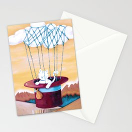 The cat traveling in dreams Stationery Cards