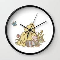 pooh Wall Clocks featuring Classic Pooh by kltj11