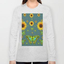SUNFLOWERS & GREEN MOTHS ABSTRACT ART Long Sleeve T-shirt