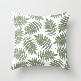 Hand painted forest green tropical leaves pattern Throw Pillow