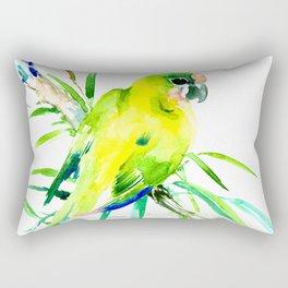 Green Yellow Parrot Rectangular Pillow