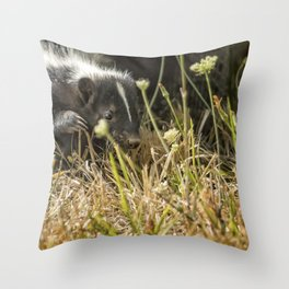 Release of a Young Skunk Throw Pillow